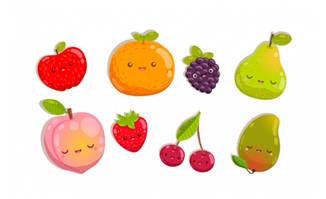 可爱苹果梨子桃子草莓水果元素卡通图案设计