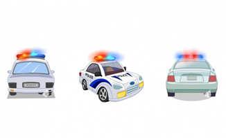 警车二维动画警灯闪烁的