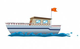插有旗子的游轮船只动画