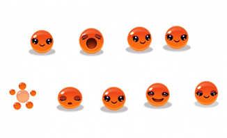 橘红色果冻卡通头像表情