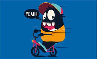 骑车的嘻哈卡通动漫人物