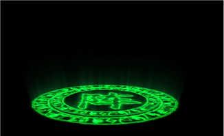 汉字阵字绿色发光特效动