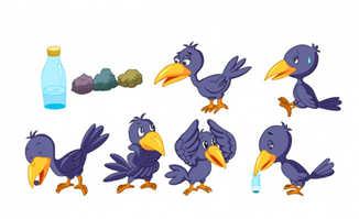 乌鸦喝水的童话故事an动画