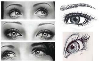 真实眼睛各种角度手绘画