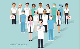 一群医护人员医生扁平化