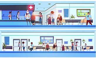 医院里面各种病人卡通动