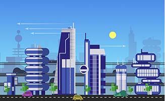 生产智能化城市插画背景