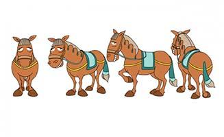 卡通动漫手绘马儿多视图