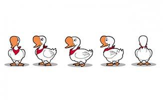 手绘动漫鸭子多视图设定