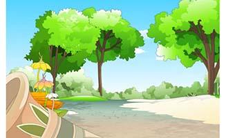 晴天下的农村小路场景设