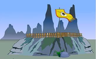 古代战争在山堡上扎营手