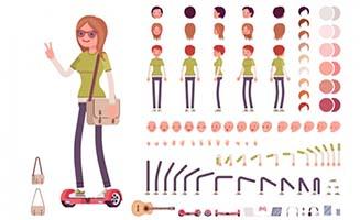 踩助力车时尚女孩卡通动