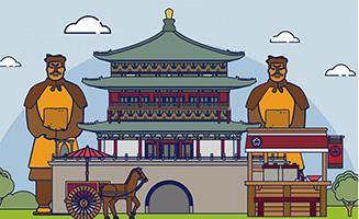 西安旅游兵马俑雕塑建筑