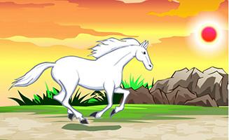 在野外奔跑的白马an动画源
