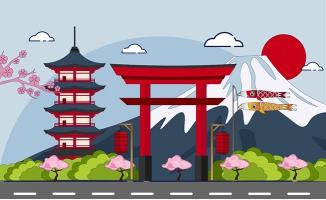 日本城市地标建筑矢量插