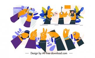 手势矢量扁平素材图片