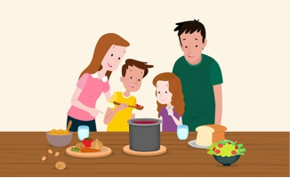 做美食的四口之家插画设