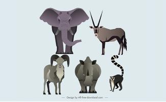 草原扁平动物大象犀牛羚