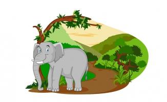 手绘大象插画矢量素材