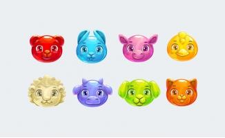 手绘彩色动物头像元素设