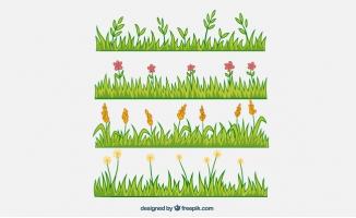 卡通植物绿色彩绘花丛矢