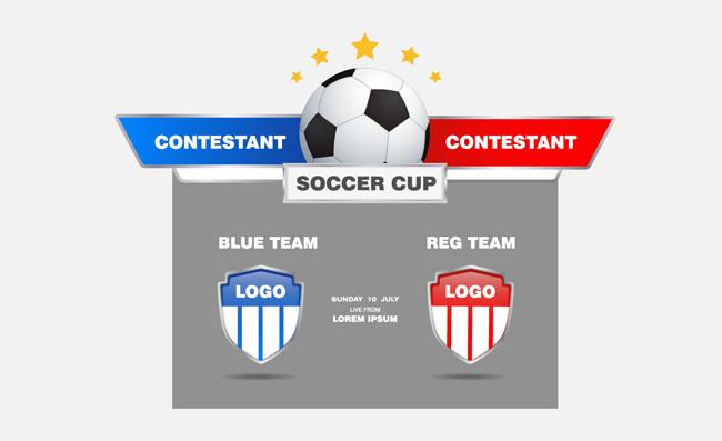足球比赛赛程战牌彩色足球比赛