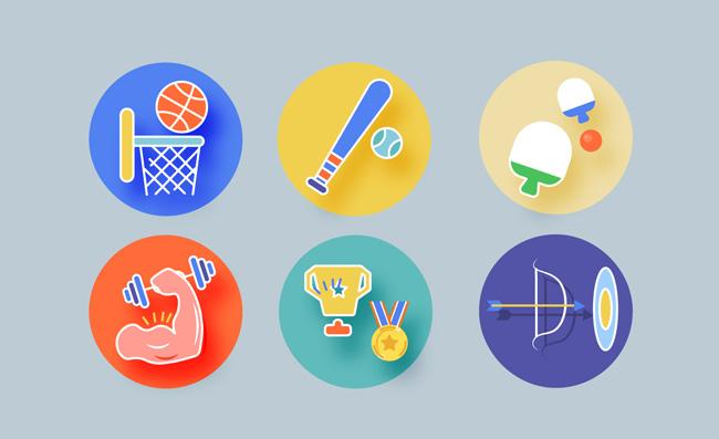 运动体育健身卡通扁平图标
