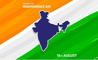 印度独立日国旗上的地图