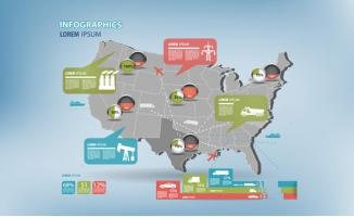 运输能源分布地图矢量图