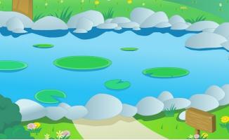 动漫卡通池塘an动画场景设