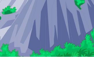 大山脚下绿色植物手绘动