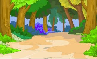 大树林深山的土路手绘动