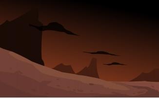 昏天暗地的荒野动漫场景