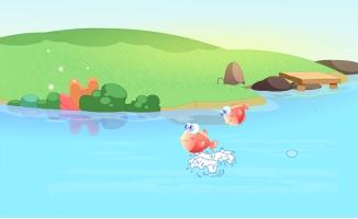 红色小鱼在河水里面跳跃
