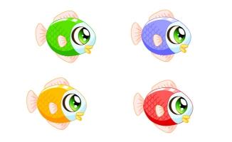 4款不同颜色的小金鱼动作