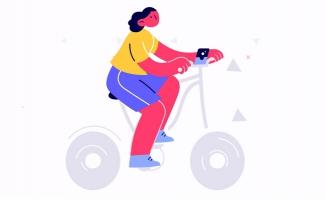 动漫卡通人物骑自行车的