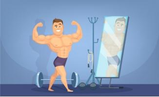 肌肉健美运动员在镜子前
