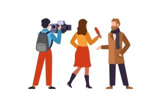 记者采访广播员新闻工作