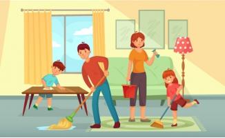 家庭打扫父亲母亲和孩子