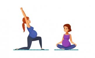 练习瑜伽的孕妇准妈妈人