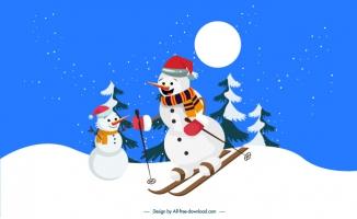 滑雪的雪人插图矢量