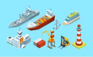 海港码头货物集装箱船只