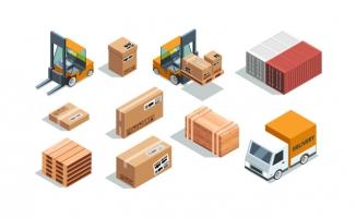 货物装载货运叉车不同箱