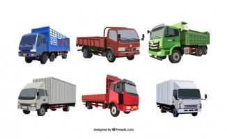 货运货车不同车型矢量图