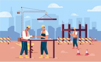 施工工地工人建筑施工场
