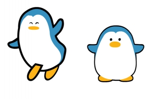 卡通动漫小企鹅蹦蹦跳跳