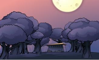 月光下房屋建筑及树林手