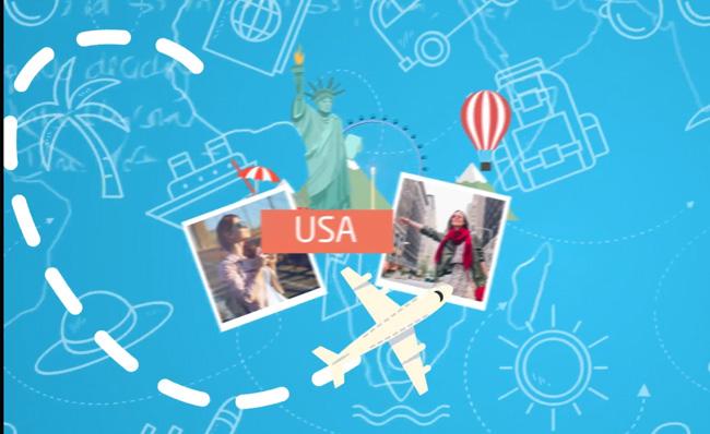 海外旅游ae动画片头视频模